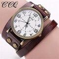 Ccq reloj pulsera de cuero de vaca de la vendimia de alta calidad antiguos las mujeres reloj de pulsera de cuarzo ocasional reloj del relogio feminino 1347