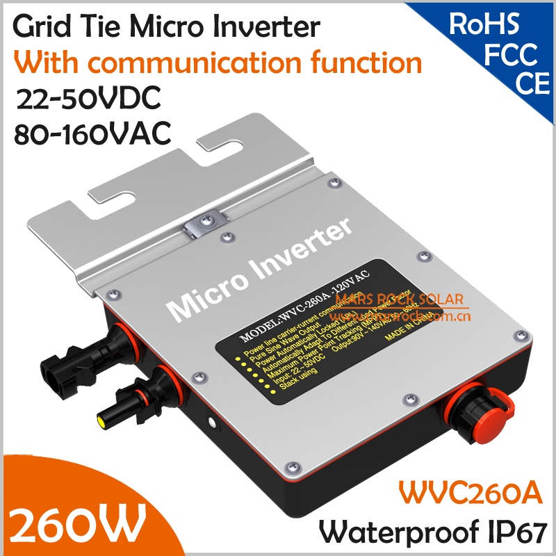 IP67 260W Grid Tie Micro Inverter with Communication Function, 22-50VDC 80-160VAC Pure Sine Wave with MPPT for 200-300V PV Panel 22 50v dc to ac110v or 220v waterproof 1200w grid tie mppt micro inverter with wireless communication function for 36v pv system