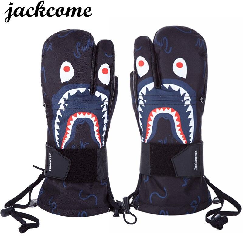 Gants de Ski hiver Sports de plein air imperméable coupe-vent gants Snowboard 3-Finger Long à revers en cuir gants chauds