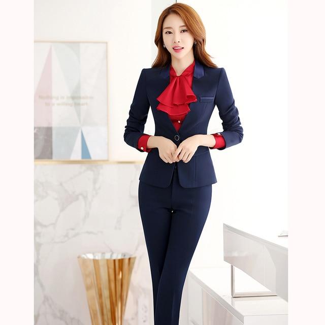 a638ed0b575a6 2019 New Formal Women Business Suits L size Blazer+Pant autumn Winter women  set Fashion