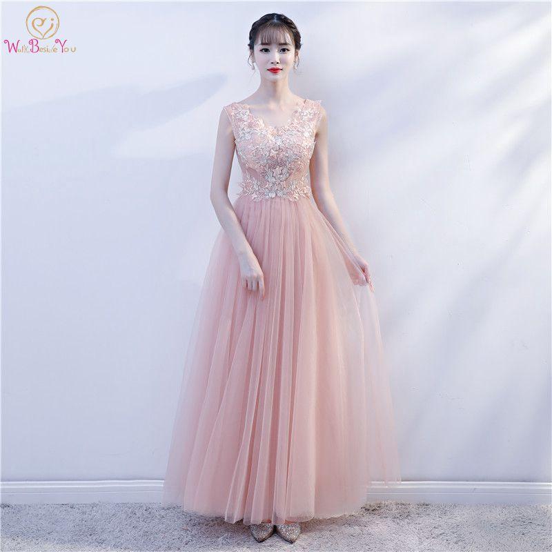 Long   Prom     Dresses   Robe Longue Soiree Vestido Largo De Fiesta 2019 Pink Lace Applique Tulle A-line V-neck Sleeveless Evening Gown