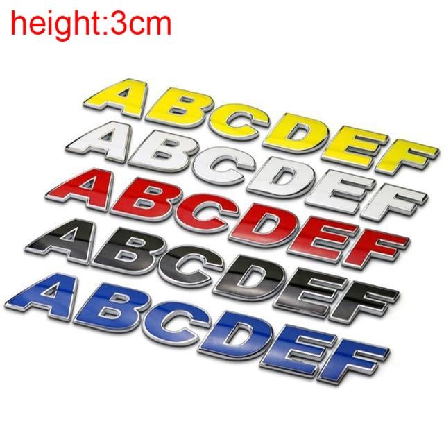 3 cm DIY Farbige Chrom Metall Zink ABC Buchstaben 012 Zahlen ...