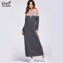 72491e78d0 Dotfashion Grey Color bloque dividida de sudadera vestido de las mujeres  ropa de Otoño de 2019 Casual con capucha de manga larga.