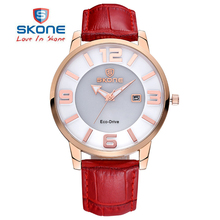 SKONE Brand Solar Power Eco-Drive Quartz Watches Women Luxury Brand Fashion Genuine Leather Strap Watch Woman Relogio Feminino