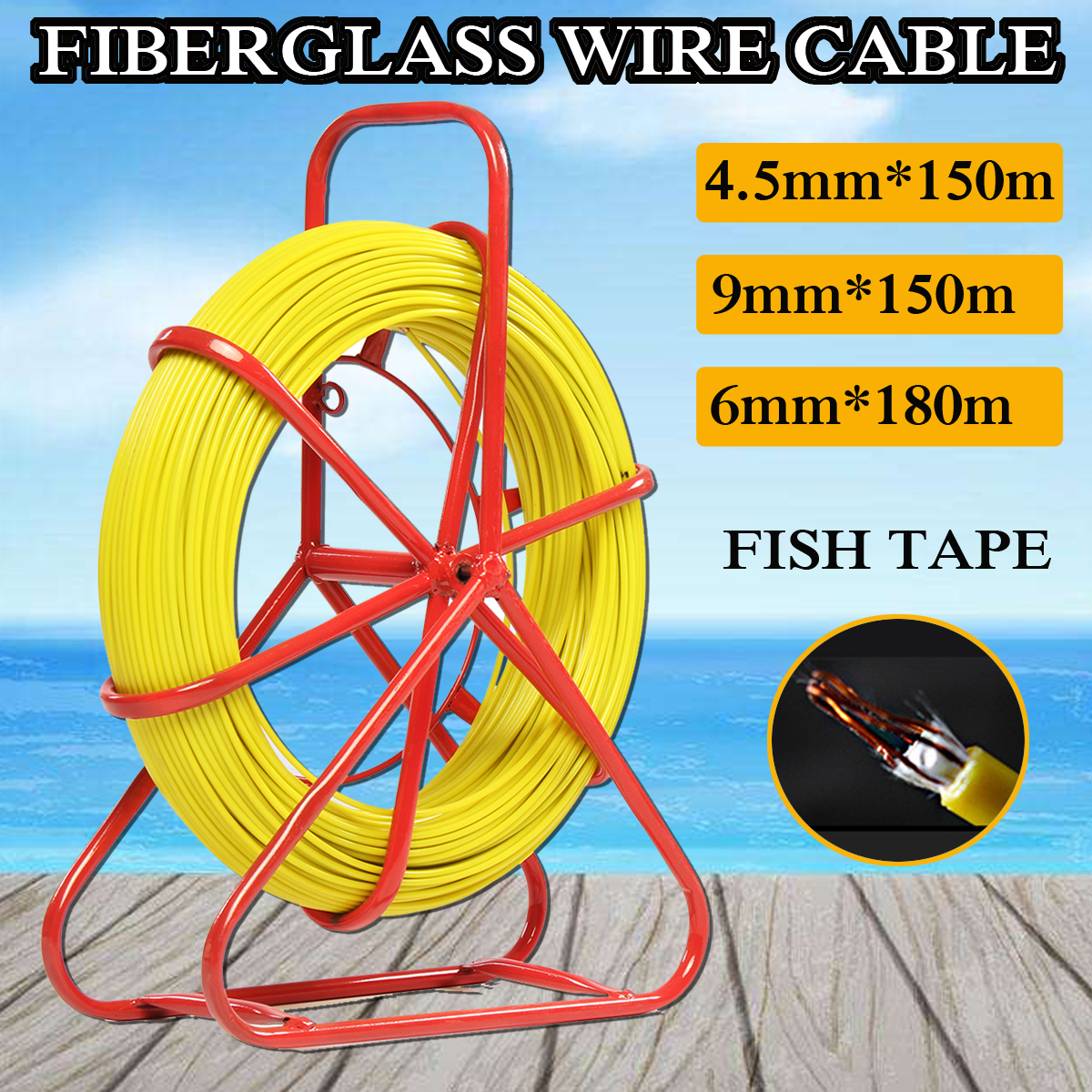 130m Fish Tape 6mm Fiberglass Wire Cable Running Rod Duct Rodder Puller Yellow