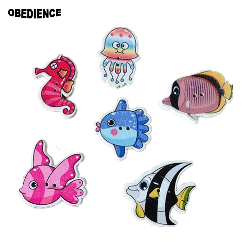 52361165bd OBEDIENCE 100Pcs Colorful Mixed Fish Style Natural Wooden Buttons ...