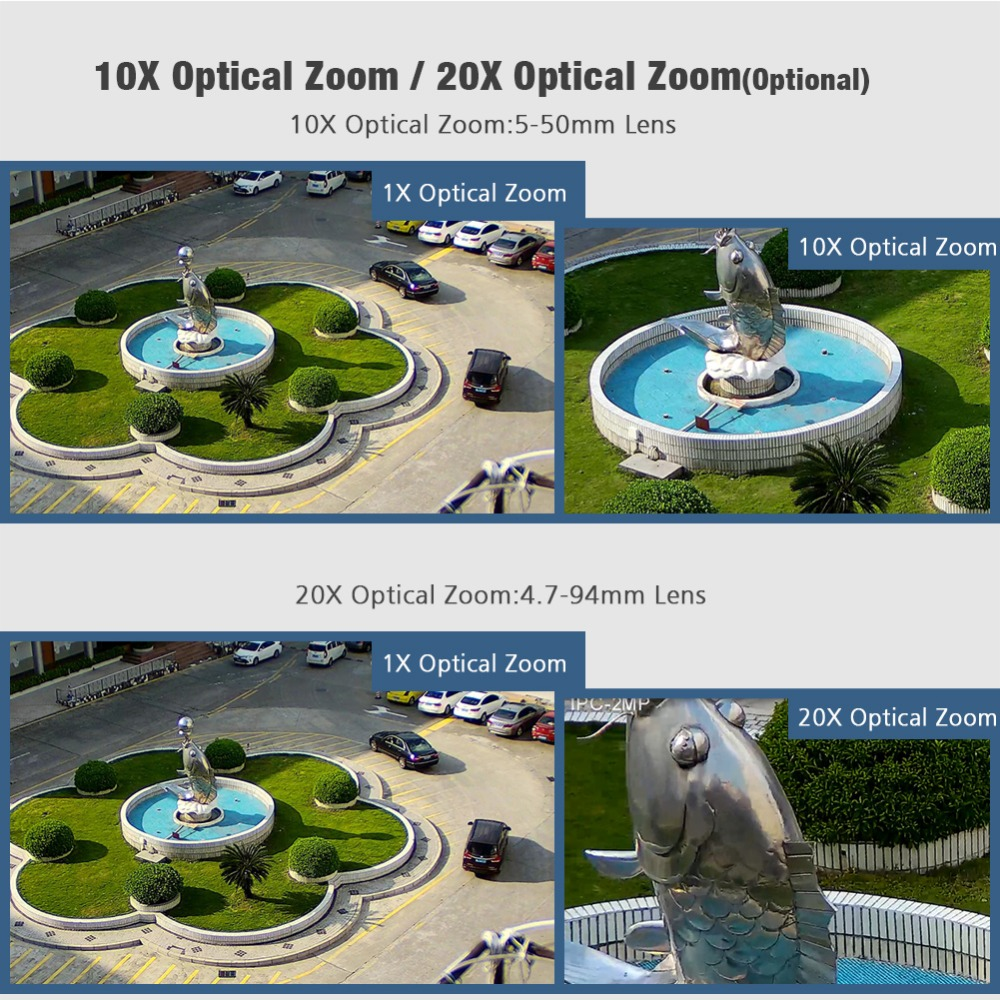 Image 2 - HD 2MP Wireless PTZ Dome IP Cam WIFI 10X / 20X Optical Zoom Outdoor Security Video CCTV Cam Two Way Audio White Light 80M IR-in Surveillance Cameras from Security & Protection