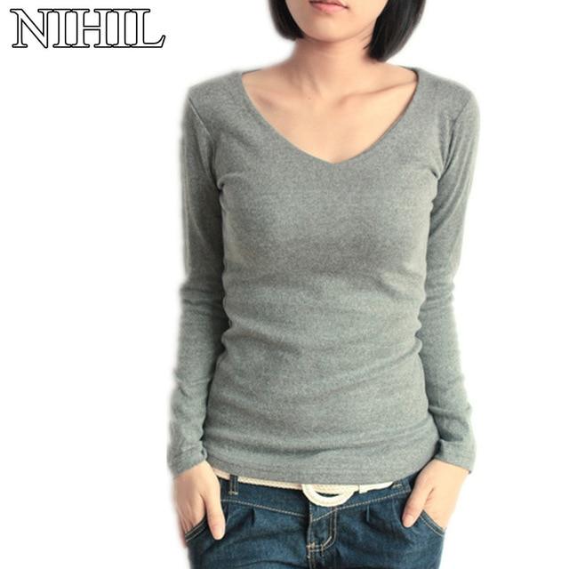 d716a53179b Long Sleeve Women Blouse New Fashion Plus Size Black V-Neck Loose Blouses  Shirts Casual