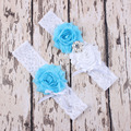 Wedding Garter 2pcs /lot Pretty Sexy Blue Purple Lace Garters Bridal Garter Set Shabby Puff Chiffon Flower Bridal Accessories