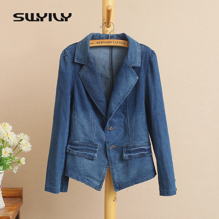 SWYIVY Women Blazer Jacket Coat Spring 2018 Denim Casual Blazers Women Slim Coat Cotton Women Blazers 5XL Big Size Office Blue