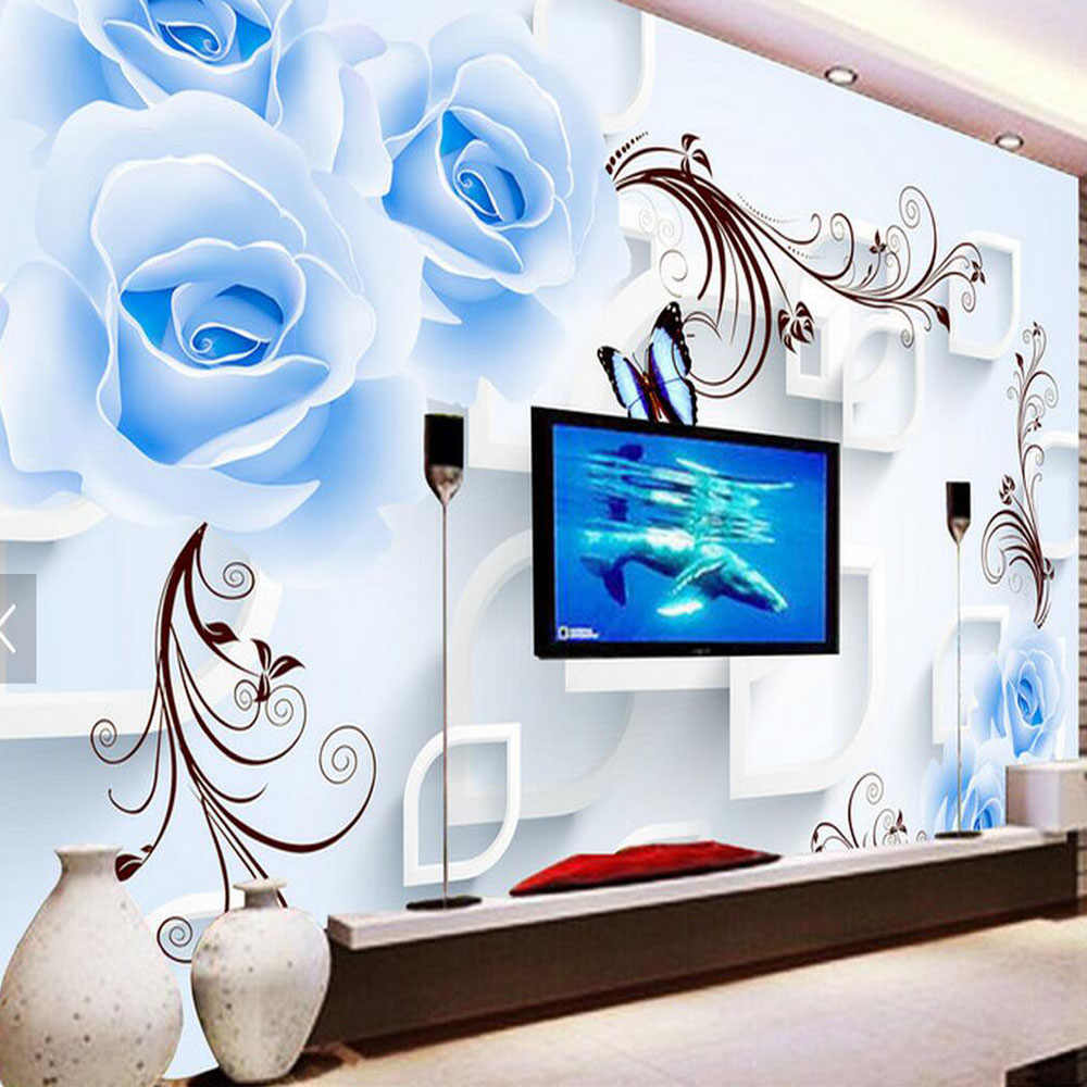 Blue Rose Floral Wallpaper 3d Wall Mural For Living Room Home Wall
