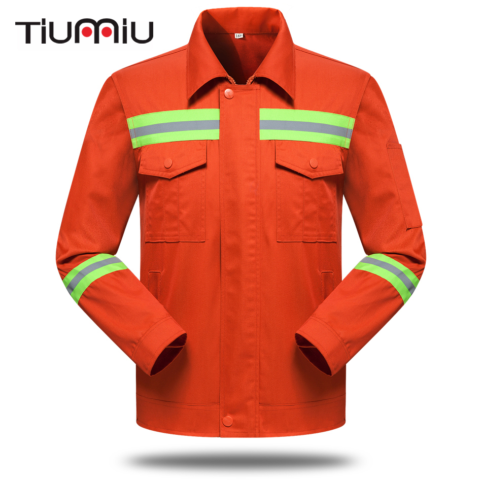 Wholesale Sanitation Service Unisex Work Wear Set Protective Clothing Men Reflrectors Orange Coat Pants Engineering Service Sets