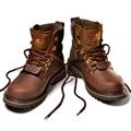 Bota ferramental masculino martin botas de couro genuíno dos homens de alta qualidade sapatos ao ar livre botas de trabalho de segurança de couro grosso chaussure