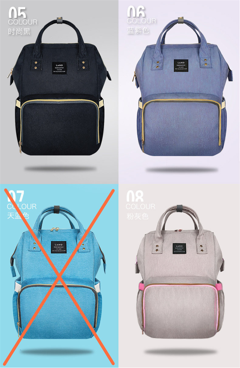 HTB1GU.Kur1YBuNjSszeq6yblFXaw Authentic LAND Mommy Diaper Bags Mother Large Capacity Travel Nappy Backpacks with anti-loss zipper Baby Nursing Bags dropship