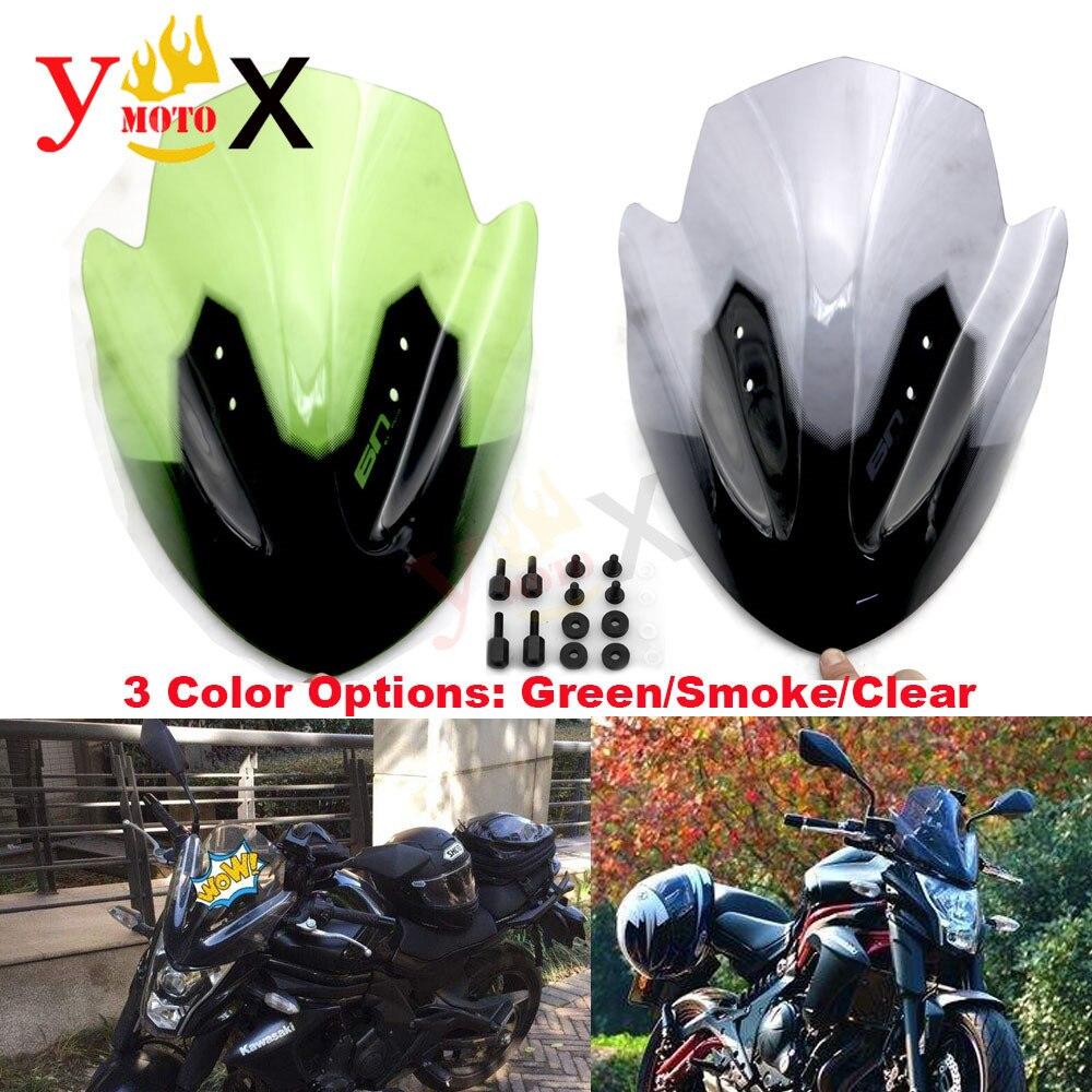 Motorcycle Smoke/Green/Clear Windscreen Windshield Front Faring Deflectors W/ Screws Kit For Kawasaki ER6N ER-6N 2012-2016 2013
