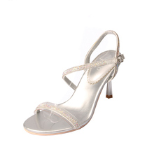 2017 Women's Sexy Gold Silver Wedding Shoes Fashion Rhinestone Ankle Strap Sandals Luxury Party Sandals