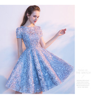 Elegant Sky Blue Women Ladies Lace Dress Summer Formal Dress First Communion Party Dress Short Sleeve Casual Office Party