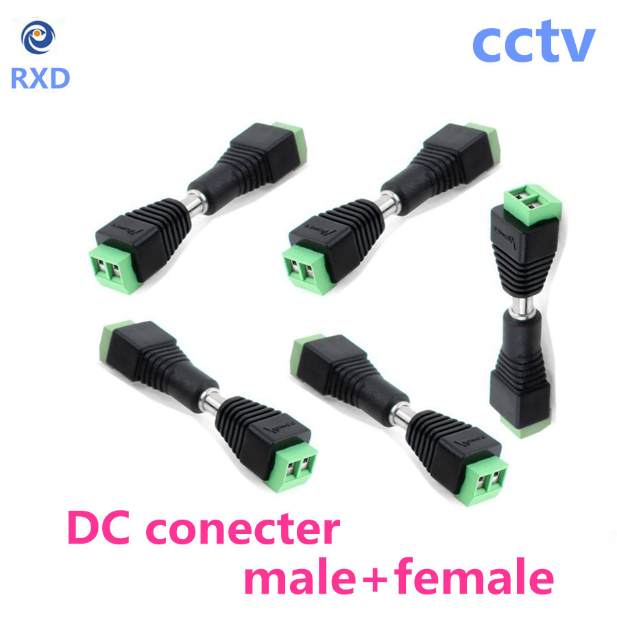 1 Pair Female+Male DC Power Jack Connector Plug Adapter 5.5x2.1mm For 5050 3528 Single Color LED Strip Light for CCTV Camera  10pair 12v push dc connector adapter for 5050 3528 single color led strip and cctv camera 5 5x2 1mm no screw 10x female 10x male