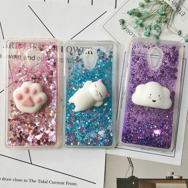 3d Squishy Cat Cases for Meizu M6 Note M5S M3 Note M5 Note MX6 M6S M6 Cover Love Heart Star Glitter Liquid Quicksand Phone Cases