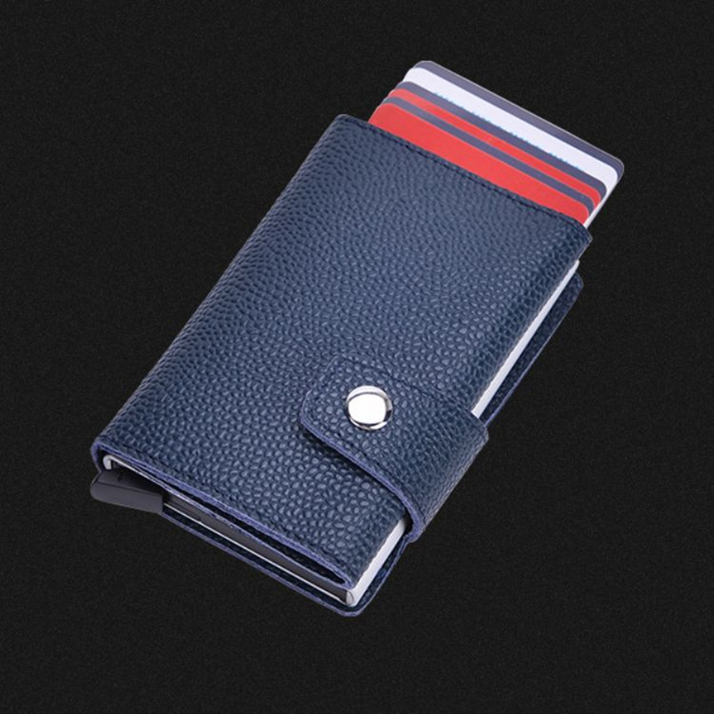 2019 Genuine Leather RFID Blocking Wallets Automatically Slide Mini Credit Card Wallet Avoid Card Damage ID Bank Card holders slide wallet