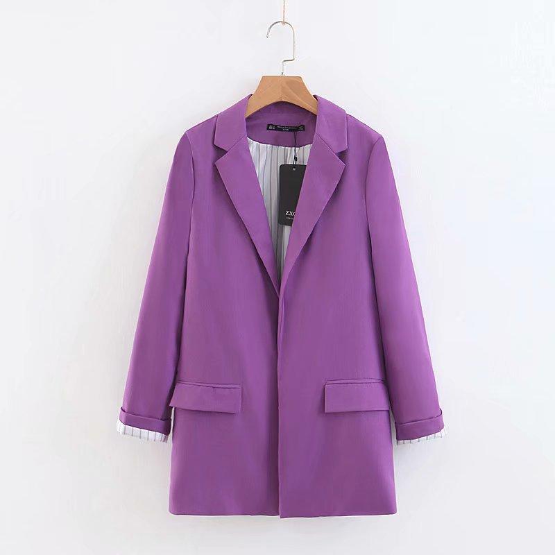 2019 New Women's Jacket Korea Style Candy Color Blazers Elegant Office Lady Long Sleeve Slim Fit Blazer 4 Color Ladies Suits