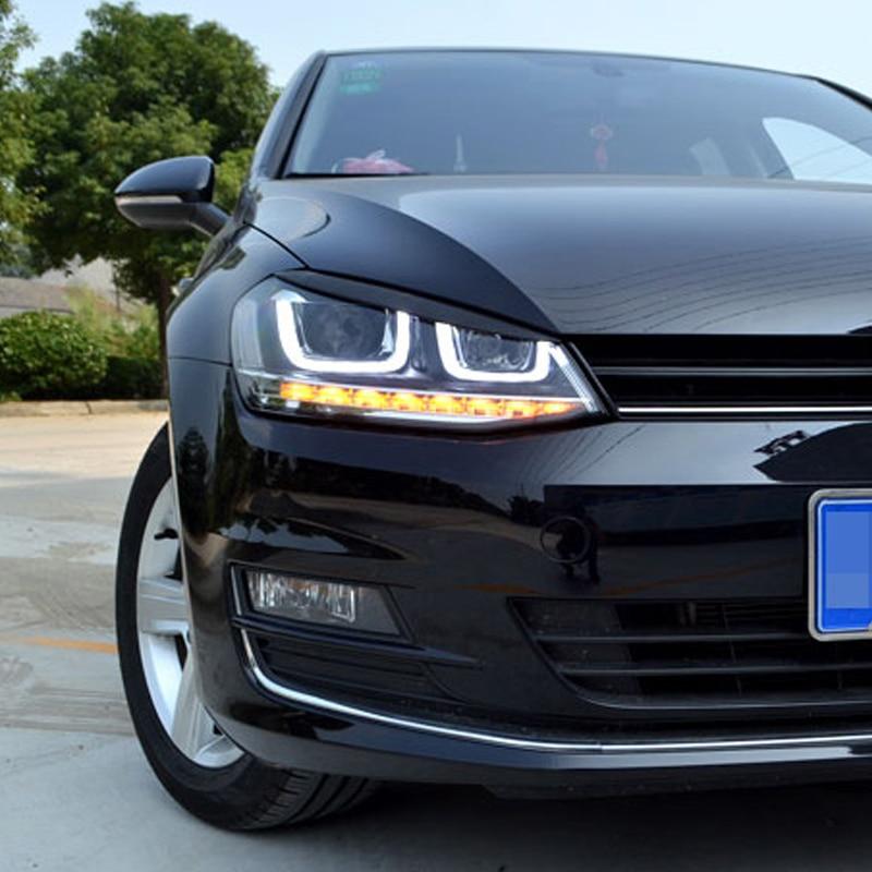 Carmonsons 2 Pcs/lot Headlights Eyebrow Eyelids ABS Chrome Trim Cover For Volkswagen VW Golf 7 MK7 GTI R Rline Car Styling