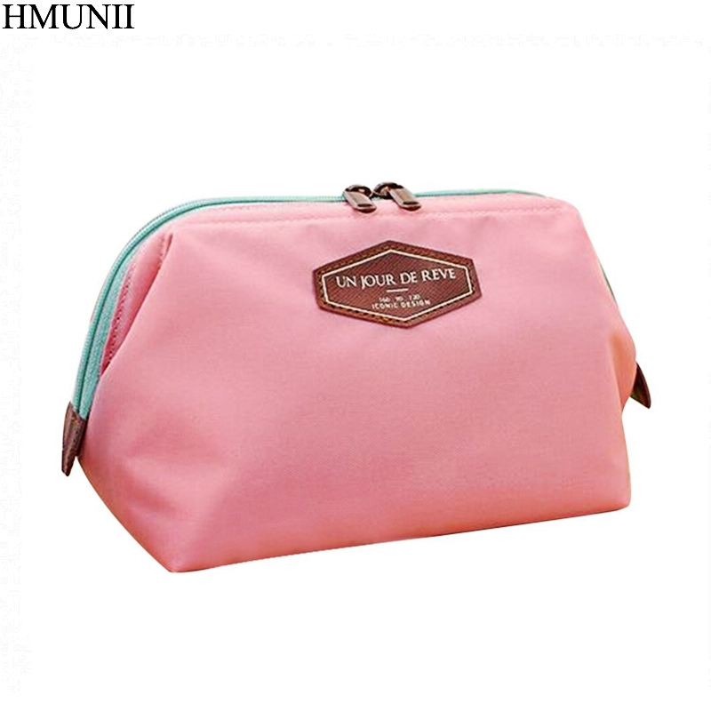 HMUNII Cosmetic Bag Women Waterproof Nylon Wash Bags Metal Frame Case Sorting Storage Bags Travel Lady Make Up Bag Purse B1-23