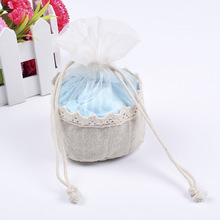 Pack of 12 Organza Jewelry Packaging Bags Necklace Earring Holder Bag 13x13x7cm Party Favor Linen Jute Drawstring Pouch