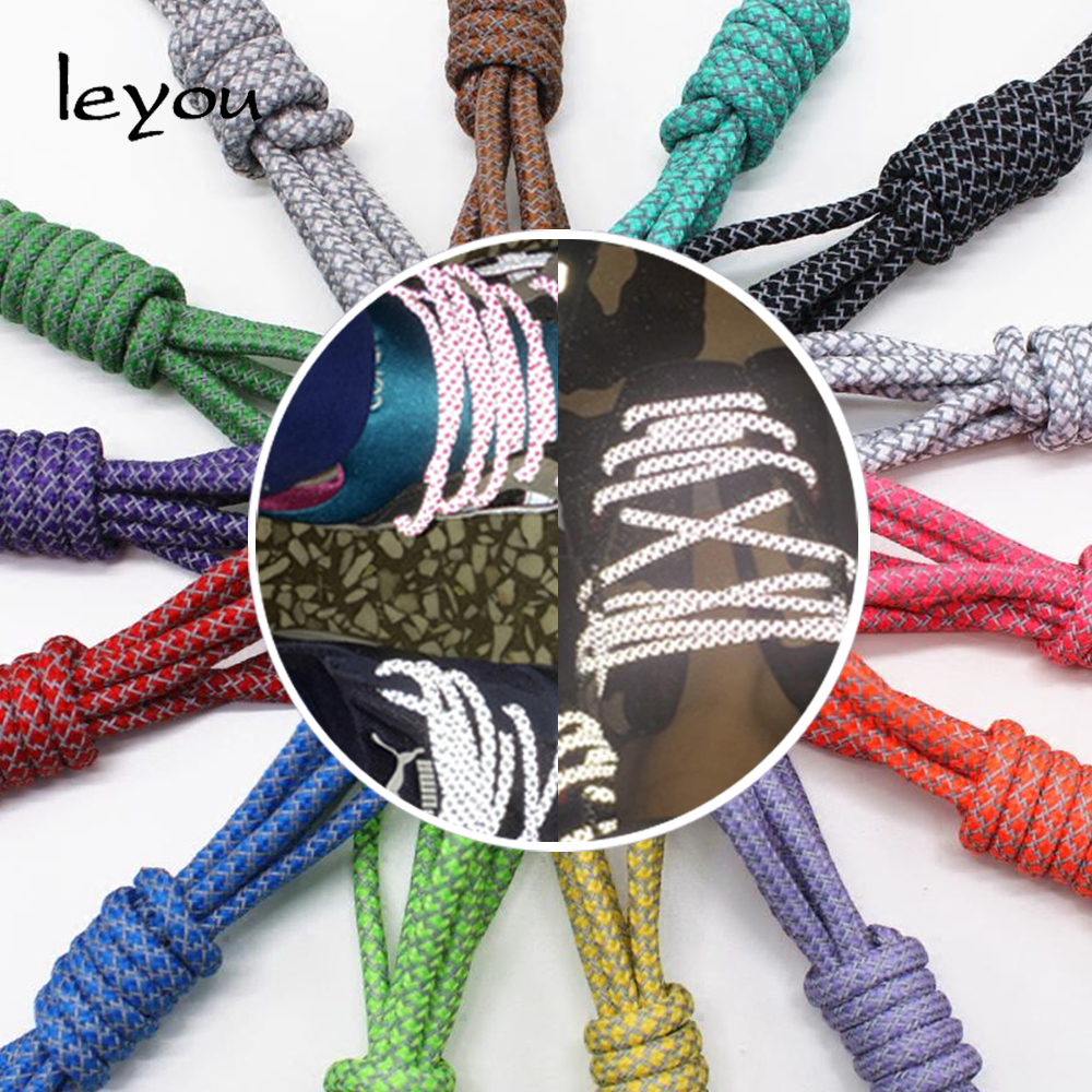 Leyou 100-160cm Fluorescent Sneaker Shoestrings Sport Shoelaces 3M Reflective Round Rope Shoe Laces Light Shoelaces Led