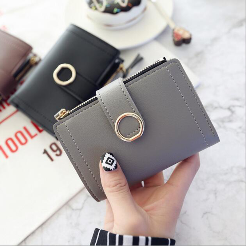 Women 39 s new zipper buckle ring simple small wallet 2019 new fashion trend student wallet in Wallets from Luggage amp Bags