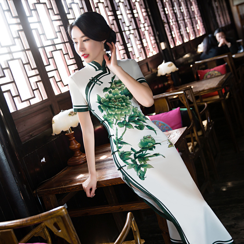 Blanc Long Cheongsam Sexy chinois robe traditionnelle Qipao chinois robes orientales chine magasin de vêtements Chino traditionnel M-3XL