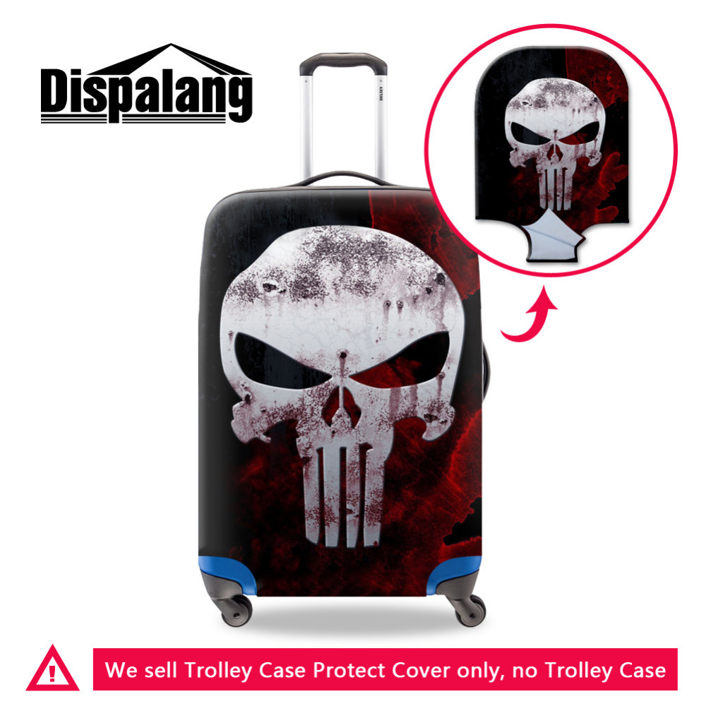 Men Travel Accessories 3D Skull Print Durable Elastic Luggage Protective Cover For 18-30 Inch Suitcases Waterproof Luggage Cover