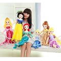 60cm Plush Princess  Snow White Ariel Rapunzel Merida Cinderella Aurora  Belle Princess dolls for Girl