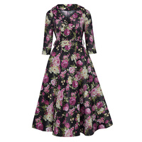 Sisjuly Women S Dresses 2017 New Spring Fall Peter Pan Collar A Line Dress With Flower