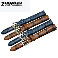 Retro Genuine leather watchband brown blue fashion Bracelet for women 6mm 8mm 10mm watch band straps