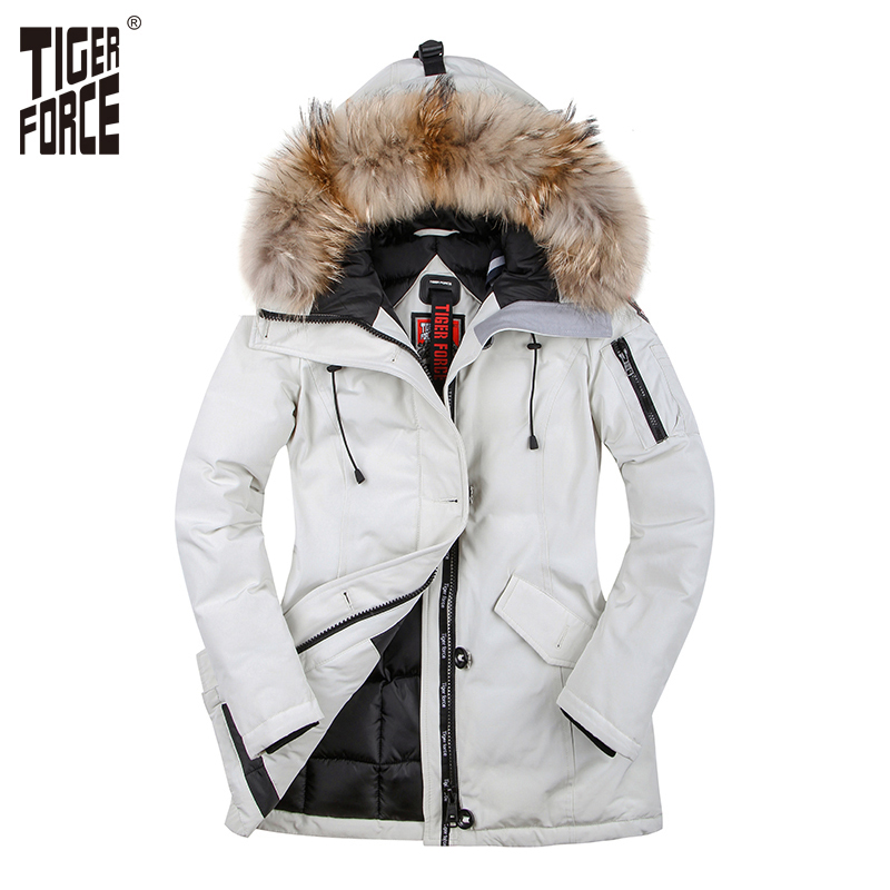 TIGER FORCE Winter Jacket for Women   Parka   Women's Warm Thicken Coat with Raccoon Fur Collar Female Warm Snowjacket Plus Size