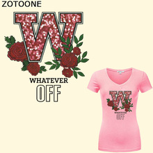 ZOTOONE Iron on Letter Flower Patches for Girl Clothing DIY Dresses Applique Heat Transfer Vinyl Washable Stickers Clothes
