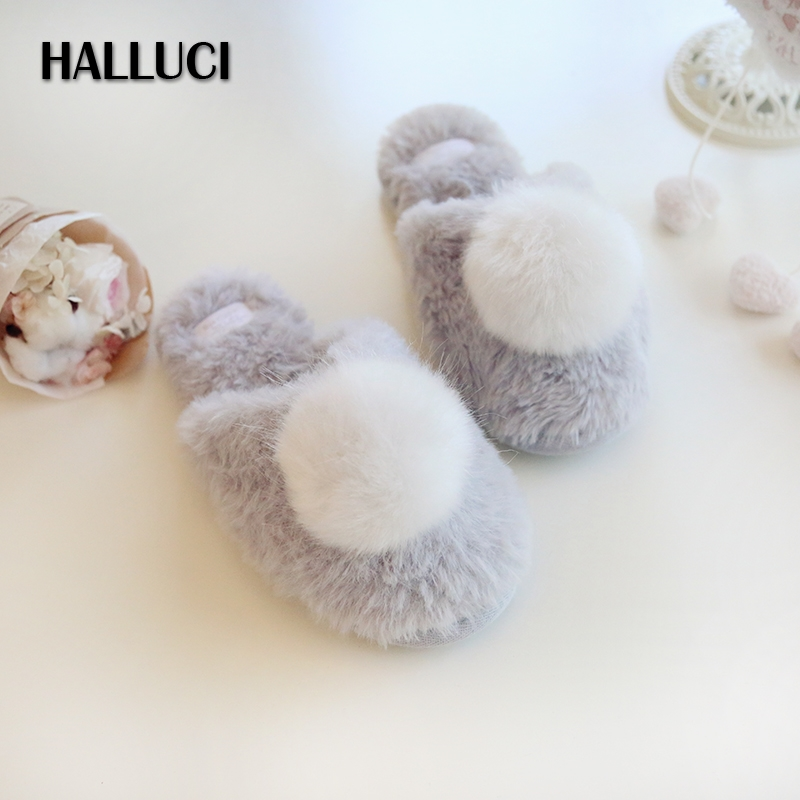 HALLUCI Winter sweet Home Slippers shoes woman indoor Couples Slippers cute keep warm women bobbles slides Slippers loafers halluci breathable sweet cotton candy color home slippers women shoes princess pink slides flip flops mules bedroom slippers