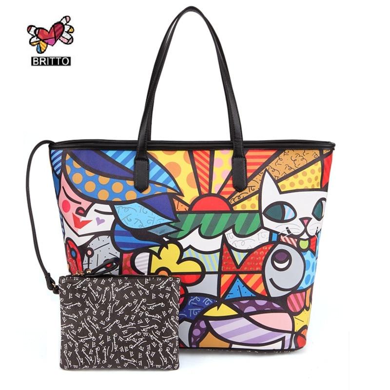 ФОТО ROMERO BRITTO Hot Sale Handbags 2016 New Ms. Messenger Large Capacity Graffiti Shoulder Bags Handbags European & American Style