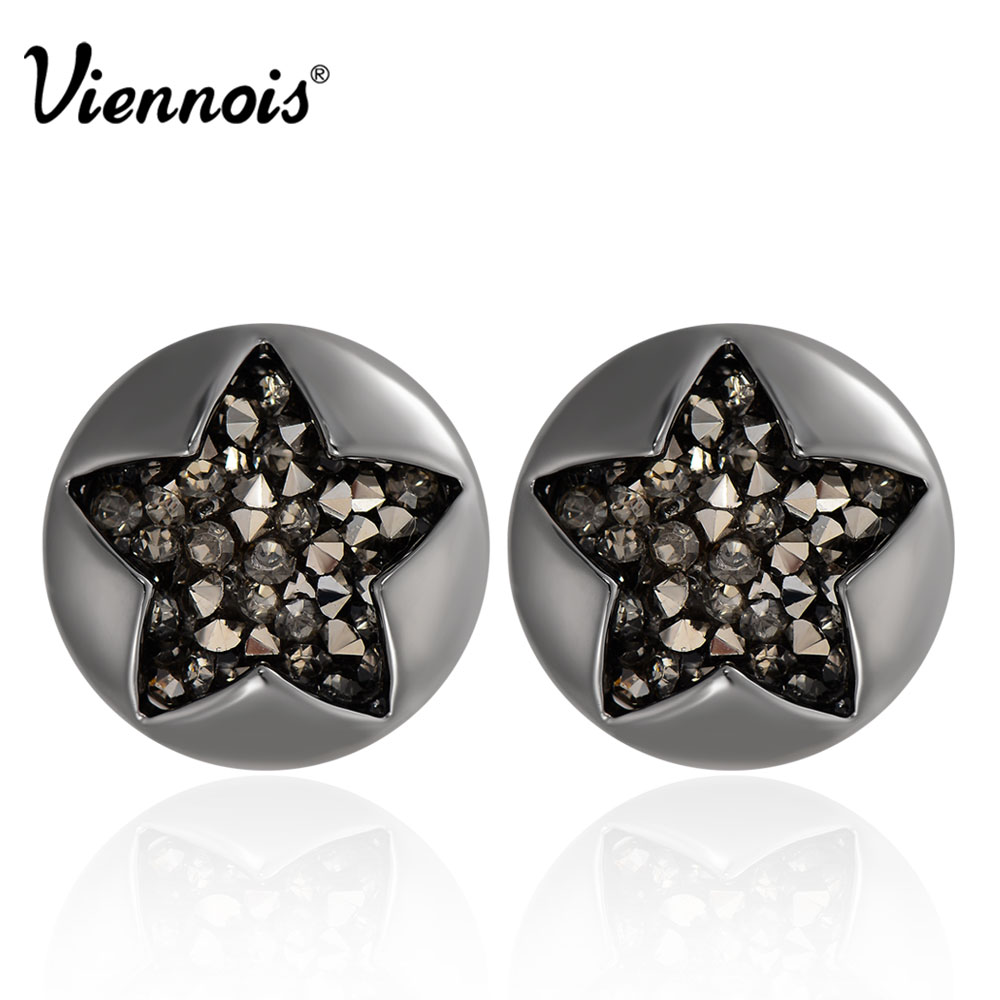 Viennois New Gun Color Star Earrings for Women Rhinestone Paved Round Stud Earrings Female Party Jewelry pair of cute rhinestone round hollow out stud earrings for women