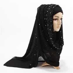Лето 2019 г. мусульманские для женщин пузырь шифон хиджаб шарф бриллиантами блеск femme мусульманский шали исламский платок
