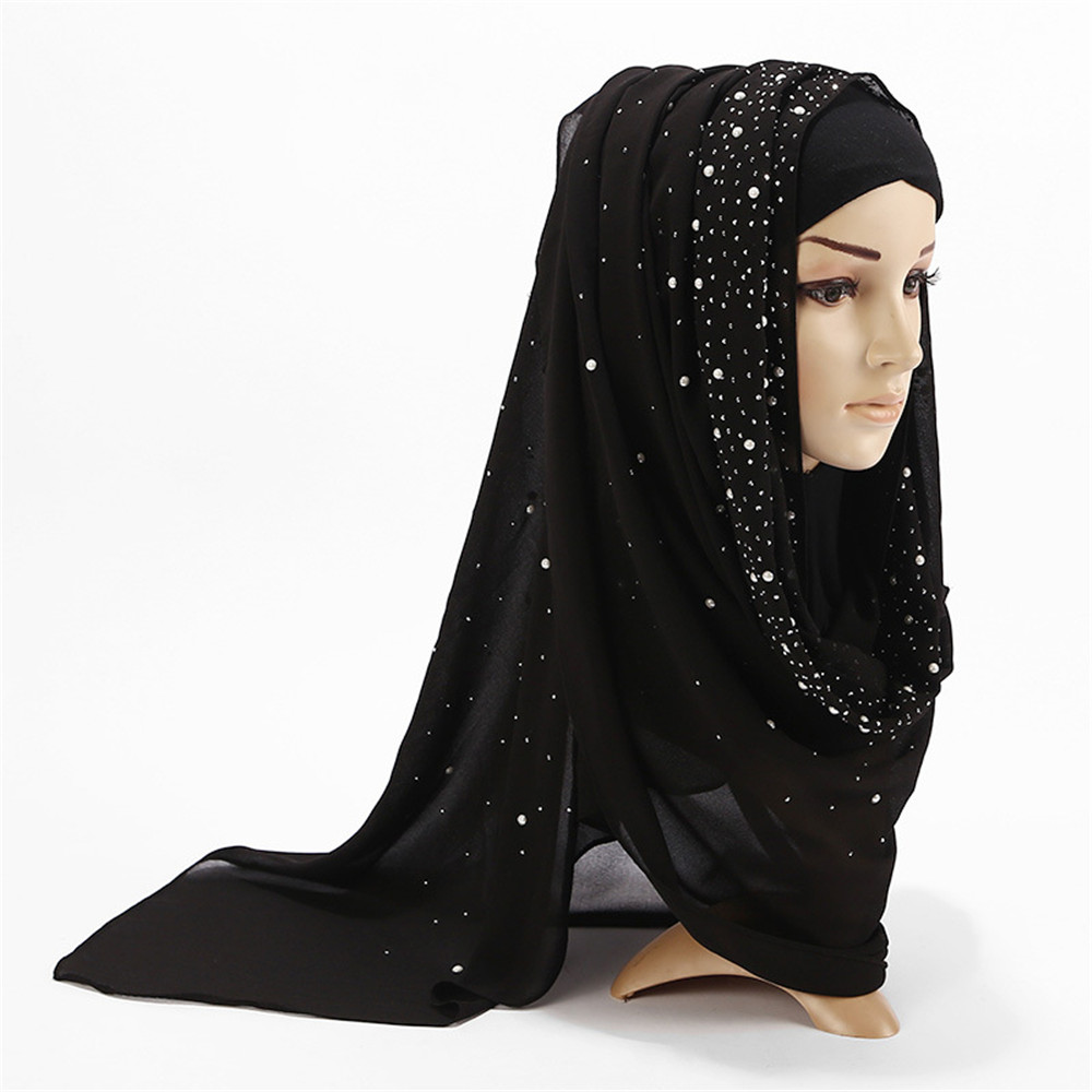 2019 Summer Muslim Women Bubble Chiffon Hijab Scarf Diamonds Glitter Femme Musulman Shawls Islamic Headscarf