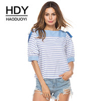 HDY Haoduoyi 2018 Summer Women T Shirt Striped Patchwork T Shirts Bow Casual Tops Pattern O