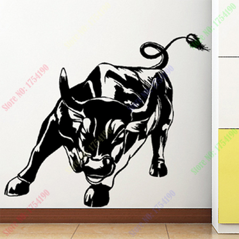 New Wall Stickers Home Decor Size 680mm 800mm Pvc Vinyl Paster Removable Art Mural Wall Street Cattle Cow