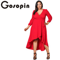 Gosopin Sexy Red Party Dress Deep V Neck Winter Autumn Plus Size Ruffled Dress High Low