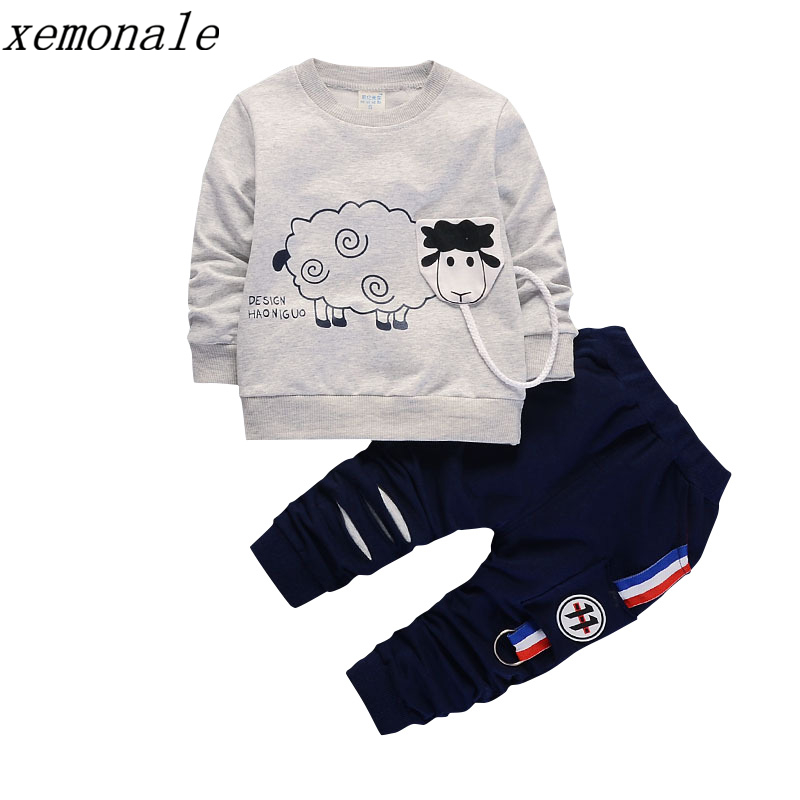 цены New Arrival Autumn Boy Clothing Set Kids Sports Suit Children Tracksuit Girls Tshirt Pant Baby Sweatshirt Cartoon Casual Clothes
