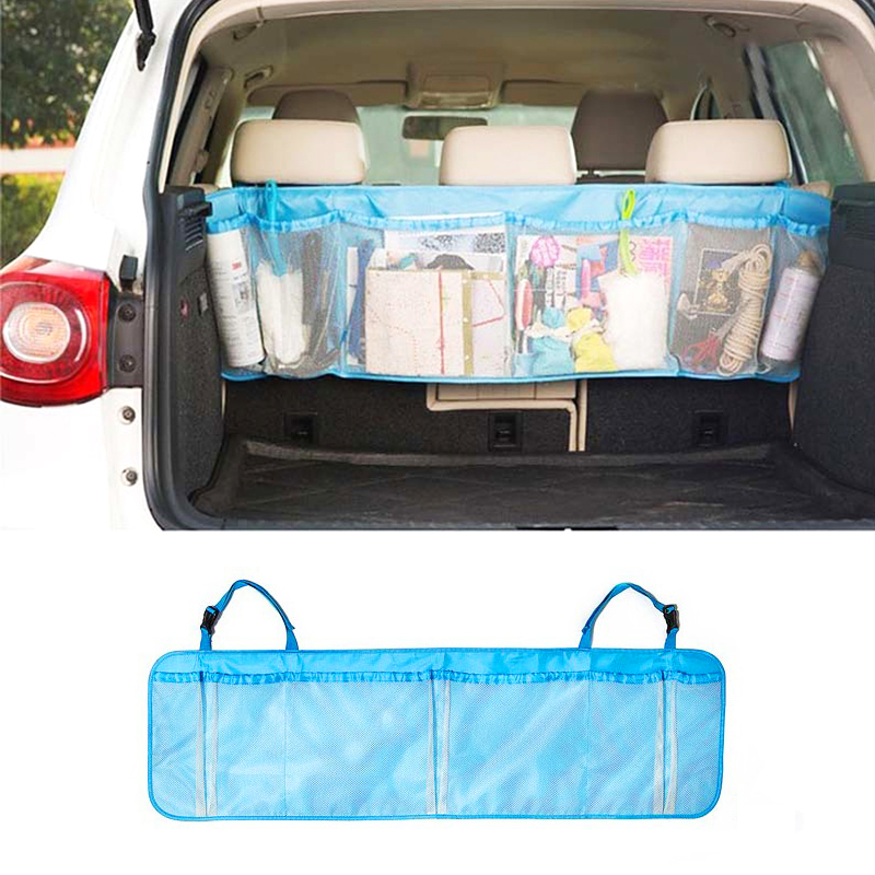 110*34cm Car Trunk Organizer Back Folding Zakka Bags Car Seat Back Storage Mesh Bag Folding Luggage Holder Auto Accessories car seat storage auto garbage boxes accessories