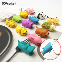 50Pcs/set Dropshipping Cable Bite Animal Cartoon USB Protector Toy Dog Cat Protection Cable Accessory For Iphone Accessory Data