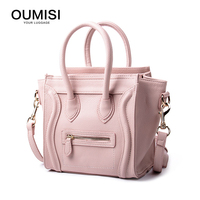 Oumisi Hot 2017 Luxury Brand Designer Classic Nano Solid Color Smiley Cross Body Tote Women