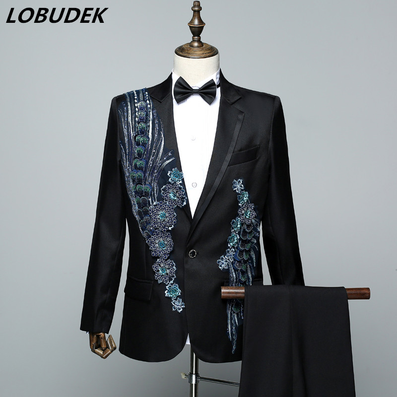 Sparkly Sequins applique Blazers Mens Suits Prom Singer Chorus Costume Bar Male Compere Host Stage Outfit Evening Party Costume